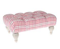Taburete de madera de abedul, algodón y poliéster Bella - rosa