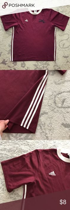 Maroon & white Adidas Mass Youth Soccer jersey Maroon and white Adidas ClimaLite short sleeve athletic sport jersey. The jersey is an Adult size M (unisex). The jersey has three white stripes down the side of it as well as a white collar. The Adidas logo is screened on in white on the right chest. On the left chest, the Massachusetts Youth Soccer Association logo is screened on in black. The jersey is made of 100% polyester. The number 5 is screened on the back in black. In excellent…