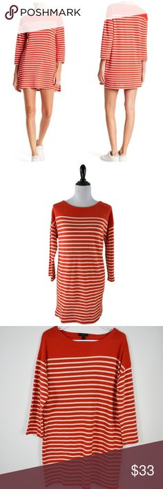 ed50cee68 🆕J Crew Orange White Striped Boatneck Tunic Dress NWOT! New without tags!  This