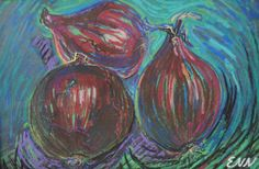 original painting / oil pastel / red onions / by NielsenDenmark