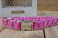 Pink Gingham Dog Collar Picnic Pink Plaid Female by WalkintheBark