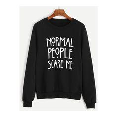 SheIn(sheinside) Black Letter Print Sweatshirt (155 NOK) ❤ liked on Polyvore featuring tops, hoodies, sweatshirts, sweaters, shirts, black, long sleeve pullover shirts, sleeve shirt, print shirts and pullover shirt