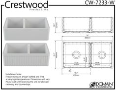 Crestwood Fireclay 33 Double Bowl Farmhouse Sink  Reversible Smooth or Fluted Design >>> Click the photo for additional details. (This is an affiliate link). Modern Kitchen Cabinets, Kitchen Cabinet Colors, Kitchen Rug, Kitchen Sink, Kitchen Design, Sink Design, Fireclay Farmhouse Sink, Fireclay Sink, Farmhouse Sink Kitchen