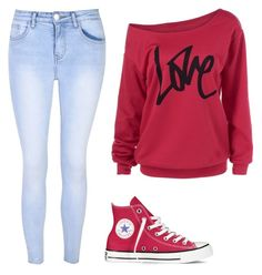 """Untitled #11"" by halle2273 ❤ liked on Polyvore featuring Glamorous and Converse"