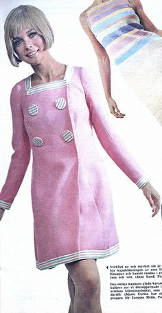 Spring fashion from Paris, 1967 The dress and coat are so sweet -- but that cheesy wig has got to go!