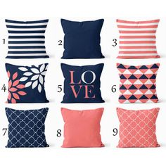 Throw Pillow Covers Navy Coral White Navy Blue Pillow Typography Art... ($34