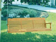 Amish Pine Wood Westchester Porch Swing Solid pine wood swing Amish made in America. #porchswing #swings #outdoorswing
