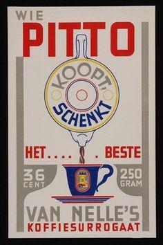 """Poster Van Nelle's """"PITTO"""" met koffiepot en blauwe kop"""
