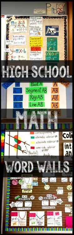 Anchor charts and posters that make great bulletin boards for high school math classrooms -  algebra, geometry and algebra 2.