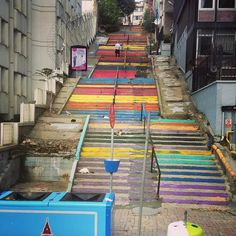 Colorful stairs in Istanbul, Turkey