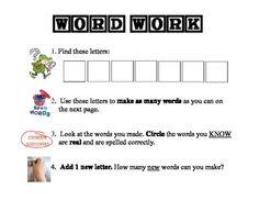 Free WORD WORK - MAKING WORDS KIT 1 - TeachersPayTeachers.com