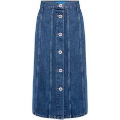 Simone denim Midi skirt ($345) ❤ liked on Polyvore featuring skirts, mid-calf skirt, blue skirt, calf length skirts, denim skirt and midi skirt