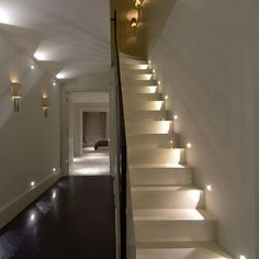 The stairway lighting got lost along the way so we decided this time to focus on that element alone. Here are a few examples of stairway lighting for modern and contemporary interiors Staircase Lighting Ideas, Stairway Lighting, Home Lighting, Lighting Design, Lighting Stores, Wall Lighting, Basement Lighting, Entryway Lighting, Indoor Stair Lighting