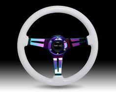 NRG Steering Wheel Classic White Wood Grain 3 Spoke Neochrome Center St 015MC WT | eBay