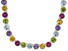 Multi Gem Round 32.53ctw Sterling Silver Necklace.....    I love the idea of buying 2 - one to turn into a braclete