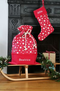 This luxury Santa stocking and sack set is one you'll want to keep for ever and ever.  Each one is fully lined and personalised with a name of your choice.