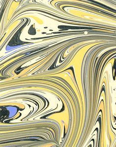 Modern 20th c. marbled paper, Fantasy pattern by Don Guyot.