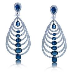 Sapphire and diamond earrings, by I.D. Jewelry. @idjewelry #sapphireearrings #finejewelry #chandelierearrings