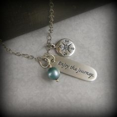 Graduation, Quote Jewelry, Inspirational Jewelry, 2013, Travel, Poetry Necklace, Graduation Gift, Enjoy the journey, Word Jewelry, Quote. $46.00, via Etsy.