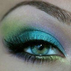 Art Teal, lime, aqua and lilac mermaid eye make up make-up-beauty Pretty Makeup, Love Makeup, Makeup Tips, Makeup Looks, Hair Makeup, Makeup Ideas, Amazing Makeup, Green Makeup, Pink Makeup