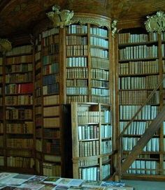 a library with a secret door