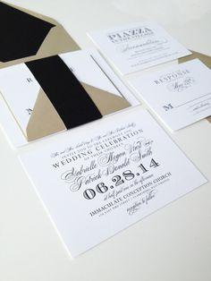 Calligraphy Wedding Invitations, Wedding Planning, Black & Gold Glitter Calligraphy Digital Printed SAMPLE by JustInviteMe, $10.00