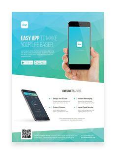 Mobile App Promotion Flyer Template on Behance – Design is art Graphic Design Flyer, Brochure Design, App Promotion, Flyer Design Inspiration, Mobile Web Design, Promotional Flyers, Instant Messaging, Project Planner, A4 Poster