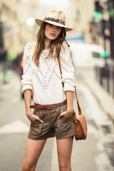 studded sweater and shorts