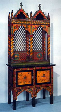 566fb68f06c painted gilded gold stencilled Gothic cabinet furniture Victorian  Furniture