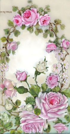 Graceful French Rose Wreath ~ Romantic Rose Paintings and Cherubs Art by Catherine Risi Vintage Rosen, Art Vintage, Decoupage Vintage, Decoupage Paper, Vintage Prints, Victorian Flowers, Vintage Flowers, Art Floral, Rose Oil Painting