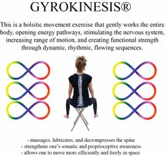 GYROKINESIS® is an exercise movement modality increasing the functional capacity of the entire organism in a harmonious way (roots in Tai Chi, Yoga, Dance)