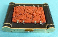 Rare French Art Deco 14k Gold Enamel & Coral Compact Minaudiere Diamonds Ca 1930