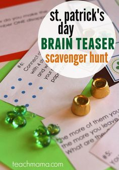 St Patrick's Day brain teaser scavenger hunt - and 16 other fun St. St Patrick Day Activities, Spring Activities, Holiday Activities, Activities For Kids, Elderly Activities, Dementia Activities, Stem Activities, Learning Activities, Outdoor Activities