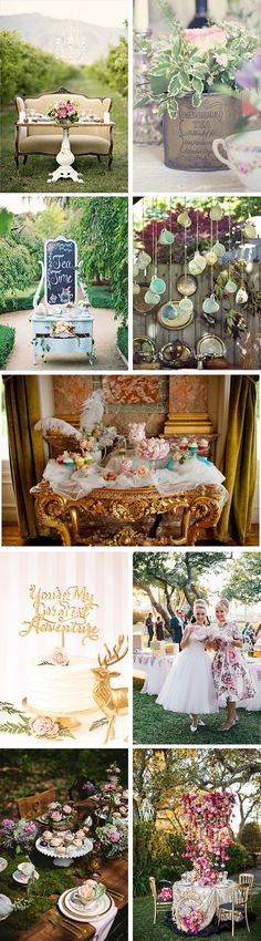 Celebrate your wedding in the beautiful outdoors with a tea party wedding theme. This charming wedding style can make for an elegant experience for you and your guests