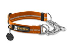 The Chain Reaction Collar by Ruffwear is a martingale-style collar that combines Ruffwear-designed TubeLok™ webbing and a short section of steel chain. This collar allows for limited correction with an audible cue, making it a great training tool.    In addition to the chain connection point, this collar also features a single-piece V-ring connection option for a non-cinch leash attachment point.