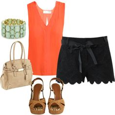 Polyvore  Super cute shorts! If you love your legs, don't be afraid to rock a pair that aren't denim -AC