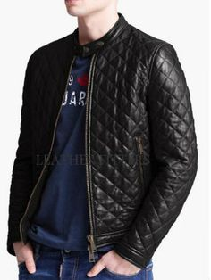TOP quality Men's Quilted PU Leather Jacket | Hot mess | Pinterest ... : quilted leather jacket mens - Adamdwight.com