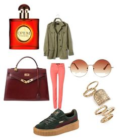 """""""#outfit#setbyfranerli"""" by fra-nerli on Polyvore featuring Oui, Banana Republic, Puma, Hermès, Topshop and Yves Saint Laurent"""