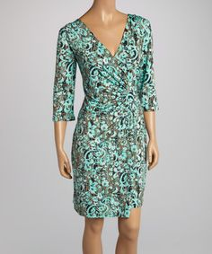 Mint & Brown Floral Ruched Wrap Dress by AA Studio #zulily #zulilyfinds