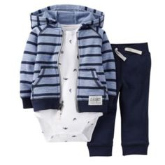 """Your little one will be ready for any voyage in this Carter's French Terry Hoodie, Pant and Bodysuit Set. The striped hoodie is a soft blue with navy stripes and """"Ahoy"""" patch; the bodysuit features allover whales; and the pull-on pant completes the look. Baby Outfits Newborn, Toddler Outfits, Baby Boy Outfits, Kids Outfits, Baby Boy Fashion, Kids Fashion, Jogging, Liverpool, Baby Boy Clothing Sets"""