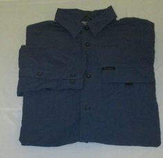 COLUMBIA Omni Shade TITANIUM Long Sleeve Vented Fishing Hiking Shirt  M - Blue #Columbia #ButtonFront