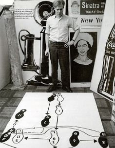 Andy Warhol in his studio with Dance Diagram [2], 1962. Photography by Alfred Statler.