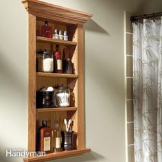 Save space by mounting a simple cabinet inside a wall between wall studs. You can build and finish it in a day for less than $50.