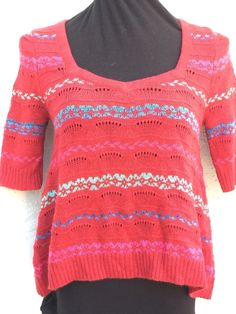 Free People size M red key hole back cotton wool blend metallic crop sweater NEW #FreePeople #Keyhole