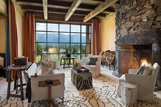 Great Room, The Homestead, Swan Valley, Montana by Locati Architects. Photography by Roger Wade