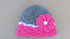 Crochet Flower Hat, Baby Girl Clothes, Baby Photo Prop, Toddler Coral Flower Hat, Newborn Girl Beanie, Baby Skull Cap, Spring Hat, Pink by TheFlyButterFactory on Etsy