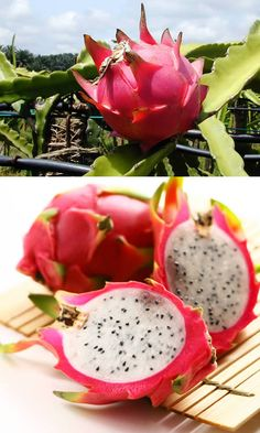 Pitaya - You see a amazing contrast in the nature from this fruit! an other name for this sort of fruit is ; Fruit And Veg, Fruits And Vegetables, Fresh Fruit, Eating Raw, Clean Eating, Healthy Eating, Fruit Recipes, Healthy Recipes, Fruit Snacks