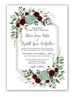 Geometric Burgundy Roses and Succulents Wedding Invitation Set Save the Date Bridal shower invite Menu printable Welcome sign