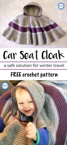 Make this free crochet pattern to keep your toddlers safe and warm in their car seat! This car seat cloak (aka poncho or cape) is a perfect way to keep your child warm without the big puffy coat.  This pattern is beginner friendly and uses simple stitches.