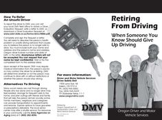 Retiring from driving : when someone you know should give up driving, by Oregon Driver and Motor Vehicle Services